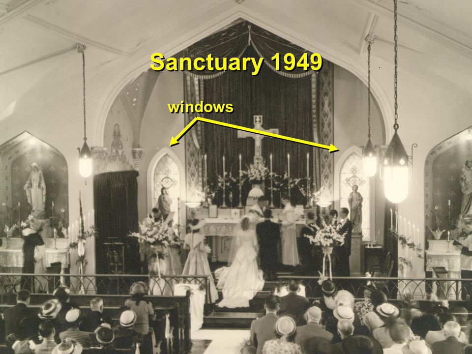 1949 First wedding to use new center aisle Bob and Elmira Leister