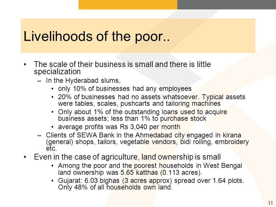 12 Livelihoods: what does the data suggest.