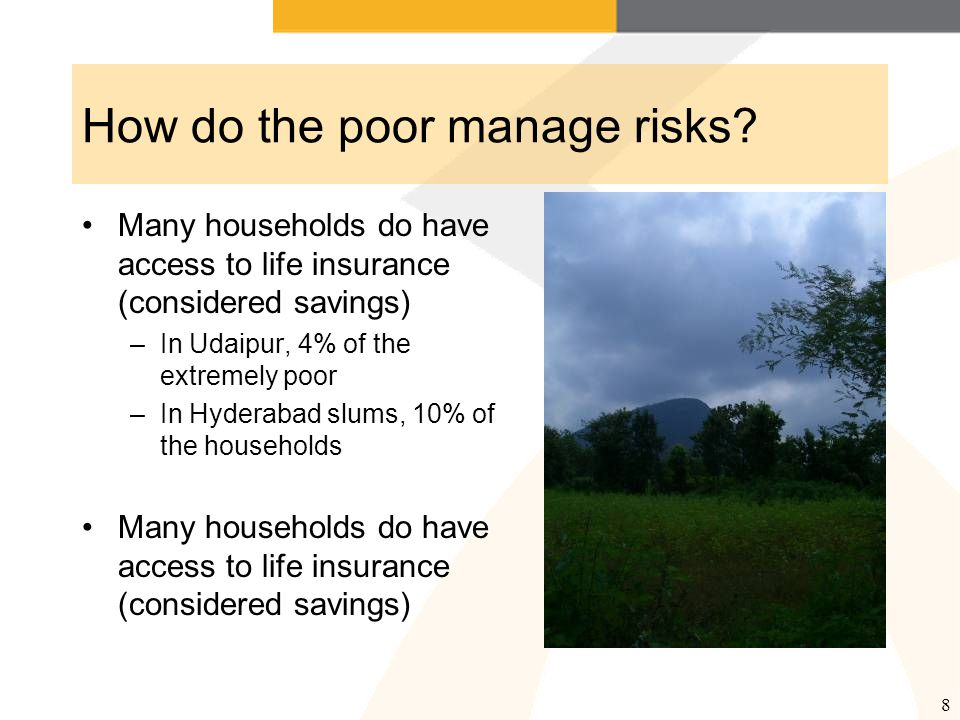 8 How do the poor manage risks.