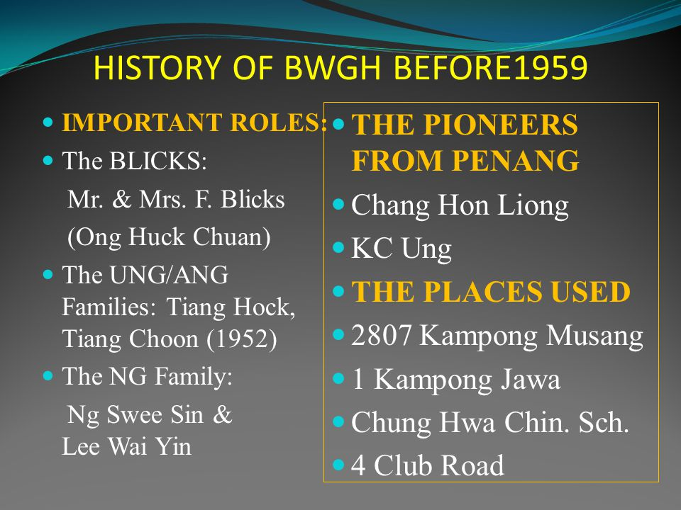 HISTORY OF BWGH BEFORE1959 IMPORTANT ROLES: The BLICKS: Mr.