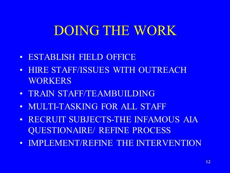 12 DOING THE WORK ESTABLISH FIELD OFFICE HIRE STAFF/ISSUES WITH OUTREACH WORKERS TRAIN STAFF/TEAMBUILDING MULTI-TASKING FOR ALL STAFF RECRUIT SUBJECTS-THE INFAMOUS AIA QUESTIONAIRE/ REFINE PROCESS IMPLEMENT/REFINE THE INTERVENTION