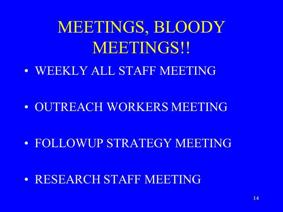 14 MEETINGS, BLOODY MEETINGS!.