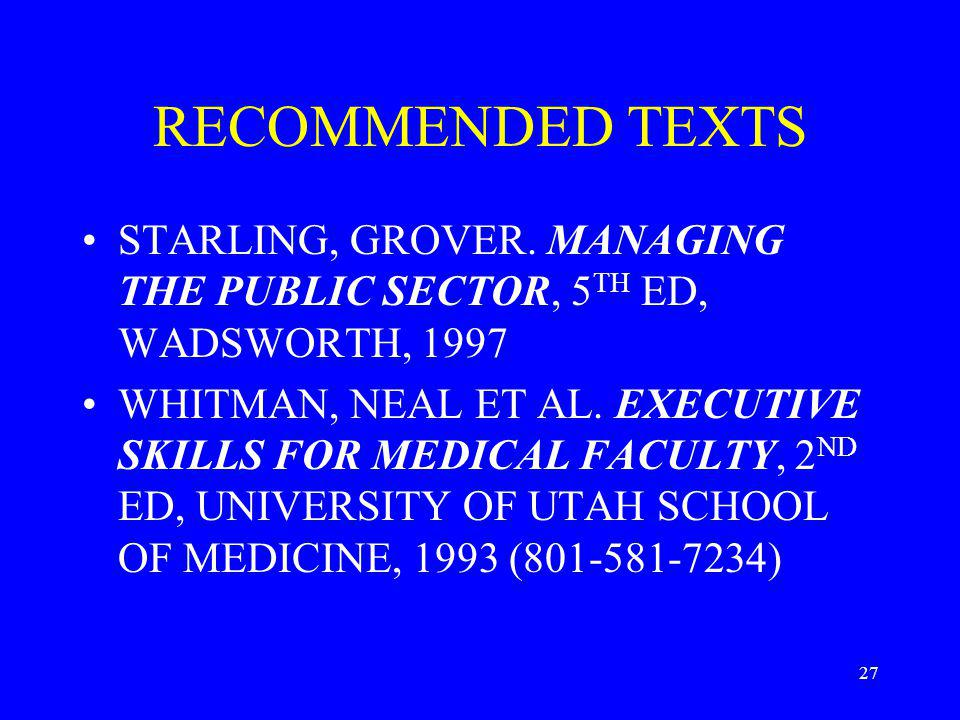 27 RECOMMENDED TEXTS STARLING, GROVER.