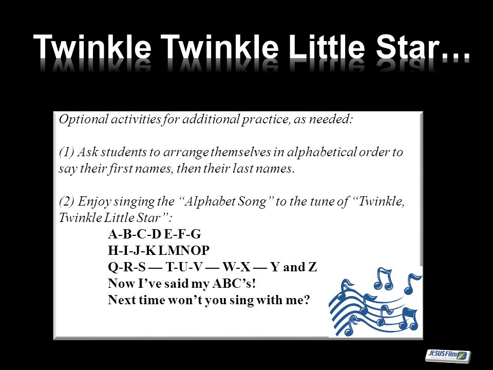 Optional activities for additional practice, as needed: (1) Ask students to arrange themselves in alphabetical order to say their first names, then th