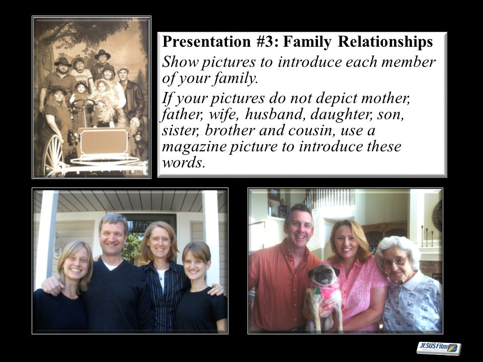 Presentation #3: Family Relationships Show pictures to introduce each member of your family. If your pictures do not depict mother, father, wife, husb