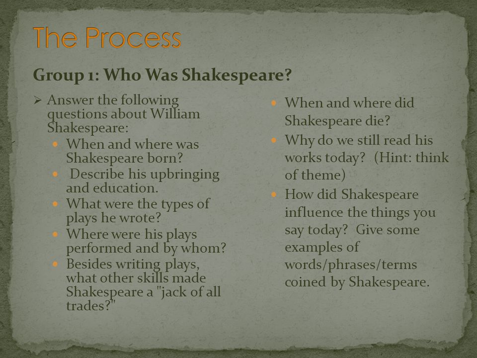 Group 1: Shakespeares Life Links Life of Shakespeare More Life of Shakespeare The Seven Ages of Shakespeares Life The Seven Ages of Shakespeares Life Educating Shakespeare Shakespeares Influence