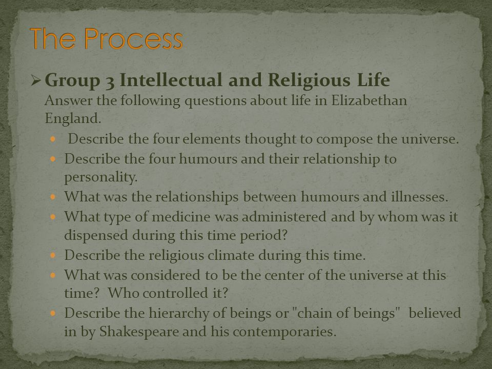 Group 3 Intellectual and Religious Life Answer the following questions about life in Elizabethan England. Describe the four elements thought to compos