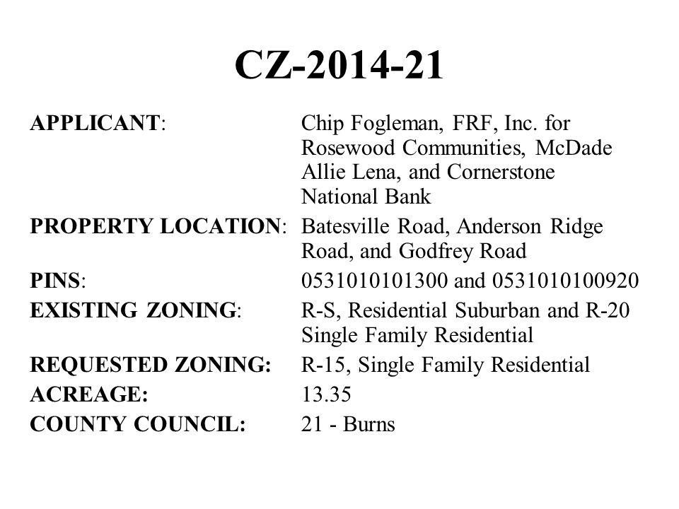 CZ-2014-21 APPLICANT:Chip Fogleman, FRF, Inc.