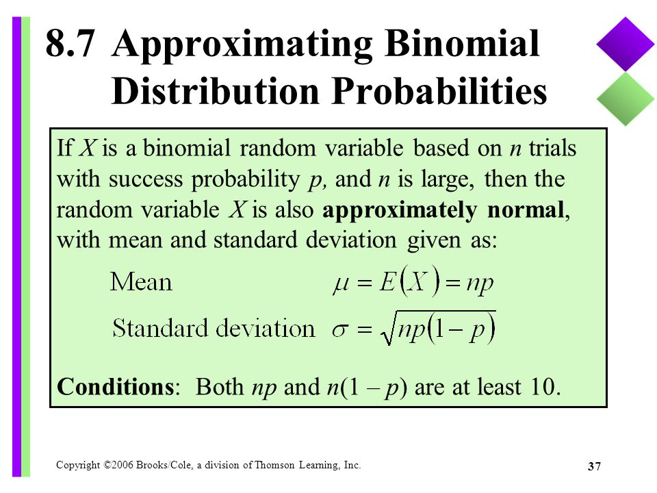 Copyright ©2006 Brooks/Cole, a division of Thomson Learning, Inc. 37 8.7Approximating Binomial Distribution Probabilities If X is a binomial random va