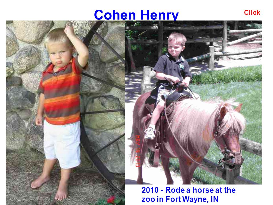 Cohen Henry Click 2010 - Rode a horse at the zoo in Fort Wayne, IN