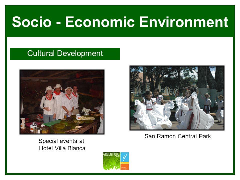 Socio - Economic Environment Cultural Development Villa Blanca Manuel Antonio San Ramon Central Park Special events at Hotel Villa Blanca