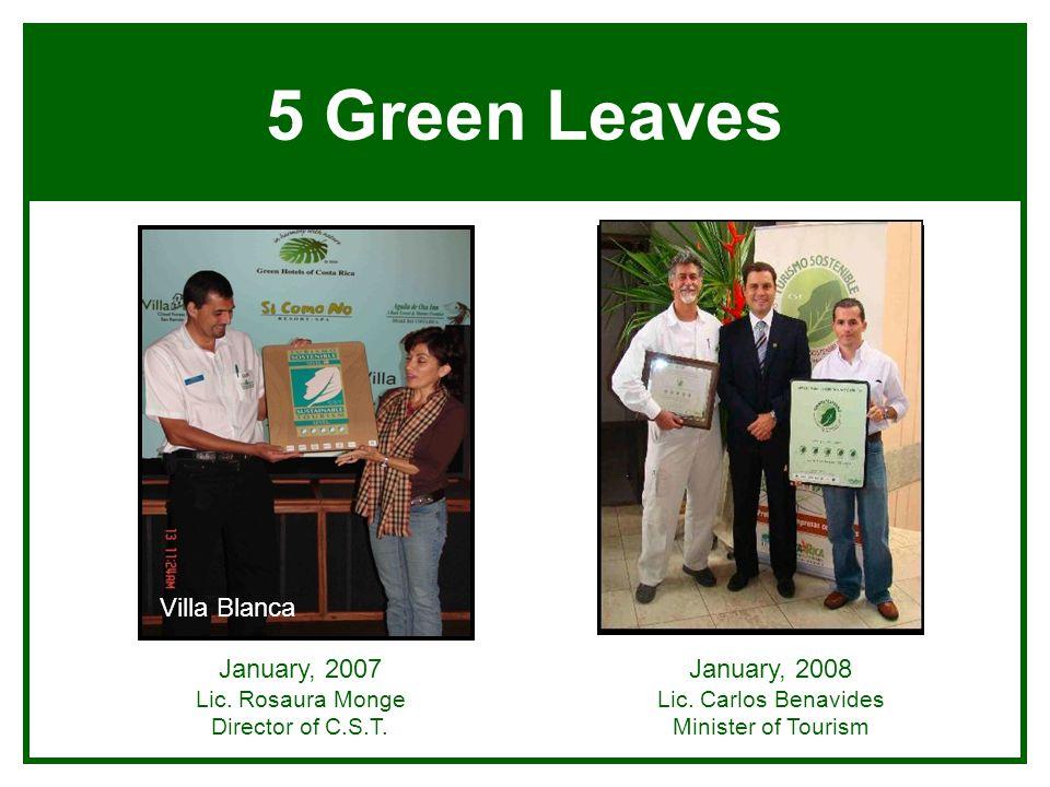 5 Green Leaves January, 2007 Lic. Rosaura Monge Director of C.S.T. January, 2008 Lic. Carlos Benavides Minister of Tourism Villa BlancaSi Como No
