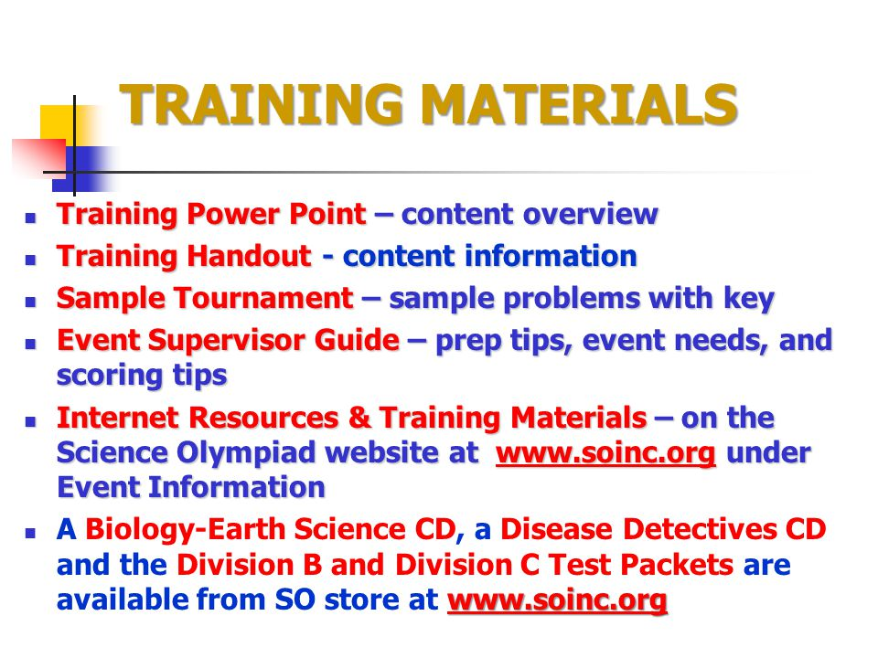 TRAINING MATERIALS Training Power Point – content overview Training Power Point – content overview Training Handout - content information Training Han