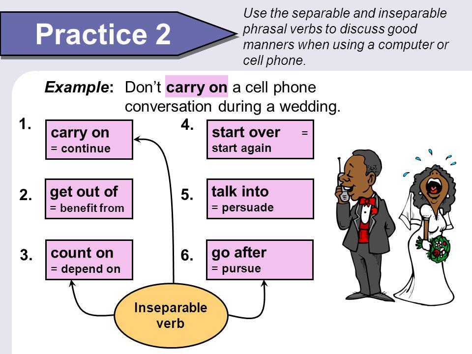 Transitive Phrasal Verbs 3 A small group of transitive phrasal verbs must be separated.