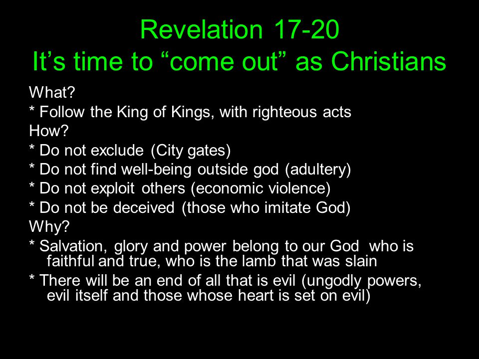 Revelation Its time to come out as Christians What.