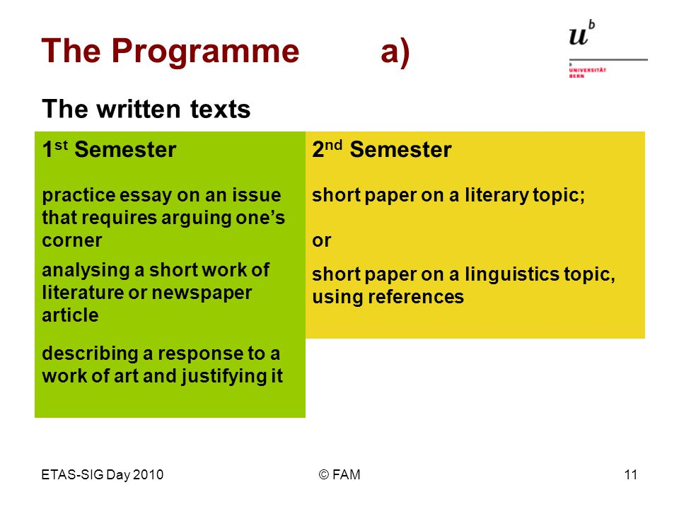 ETAS-SIG Day 2010© FAM11 The Programme a) describing a response to a work of art and justifying it short paper on a linguistics topic, using references analysing a short work of literature or newspaper article short paper on a literary topic; or practice essay on an issue that requires arguing ones corner 2 nd Semester1 st Semester The written texts describing a response to a work of art and justifying it analysing a short work of literature or newspaper article