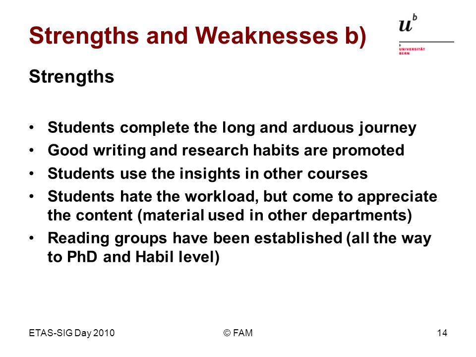 ETAS-SIG Day 2010© FAM14 Strengths and Weaknesses b) Strengths Students complete the long and arduous journey Good writing and research habits are promoted Students use the insights in other courses Students hate the workload, but come to appreciate the content (material used in other departments) Reading groups have been established (all the way to PhD and Habil level)