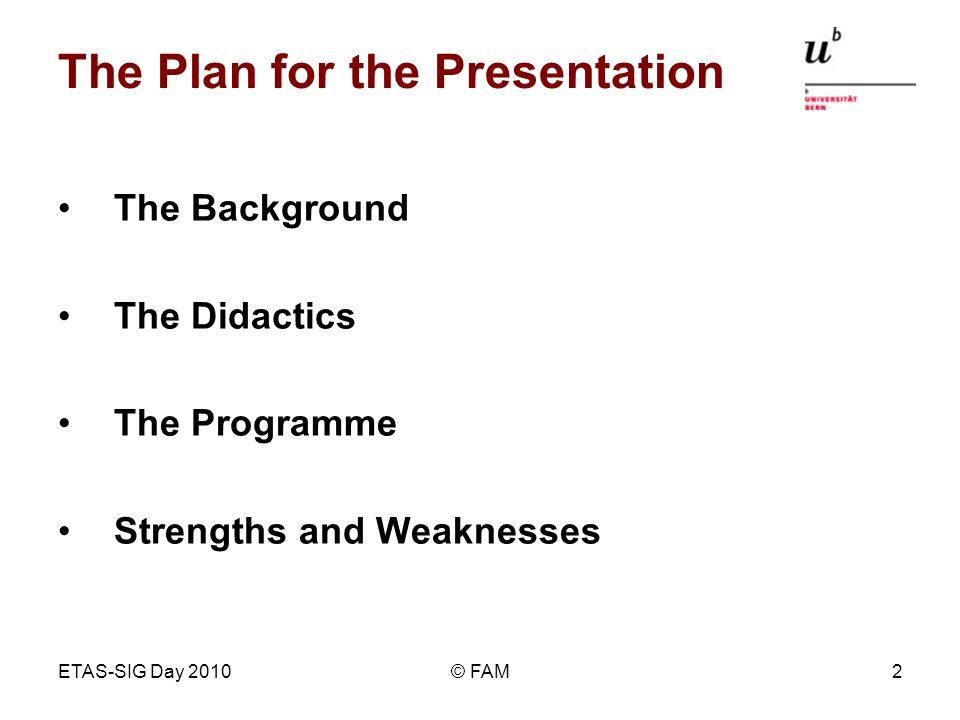 ETAS-SIG Day 2010© FAM2 The Plan for the Presentation The Background The Didactics The Programme Strengths and Weaknesses