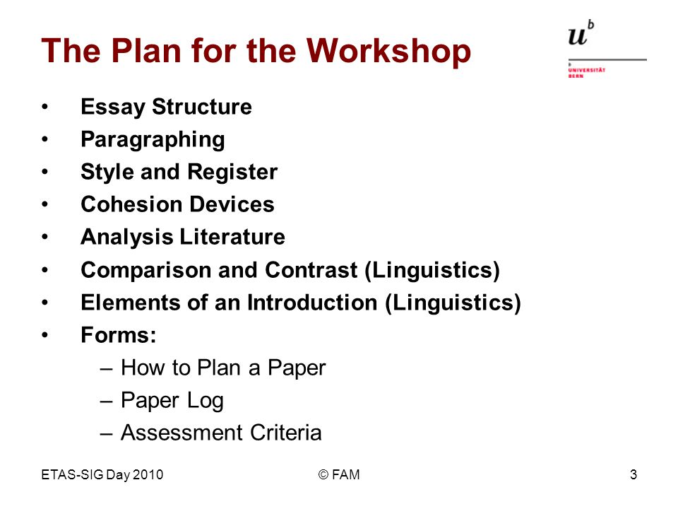 ETAS-SIG Day 2010© FAM3 The Plan for the Workshop Essay Structure Paragraphing Style and Register Cohesion Devices Analysis Literature Comparison and Contrast (Linguistics) Elements of an Introduction (Linguistics) Forms: –How to Plan a Paper –Paper Log –Assessment Criteria