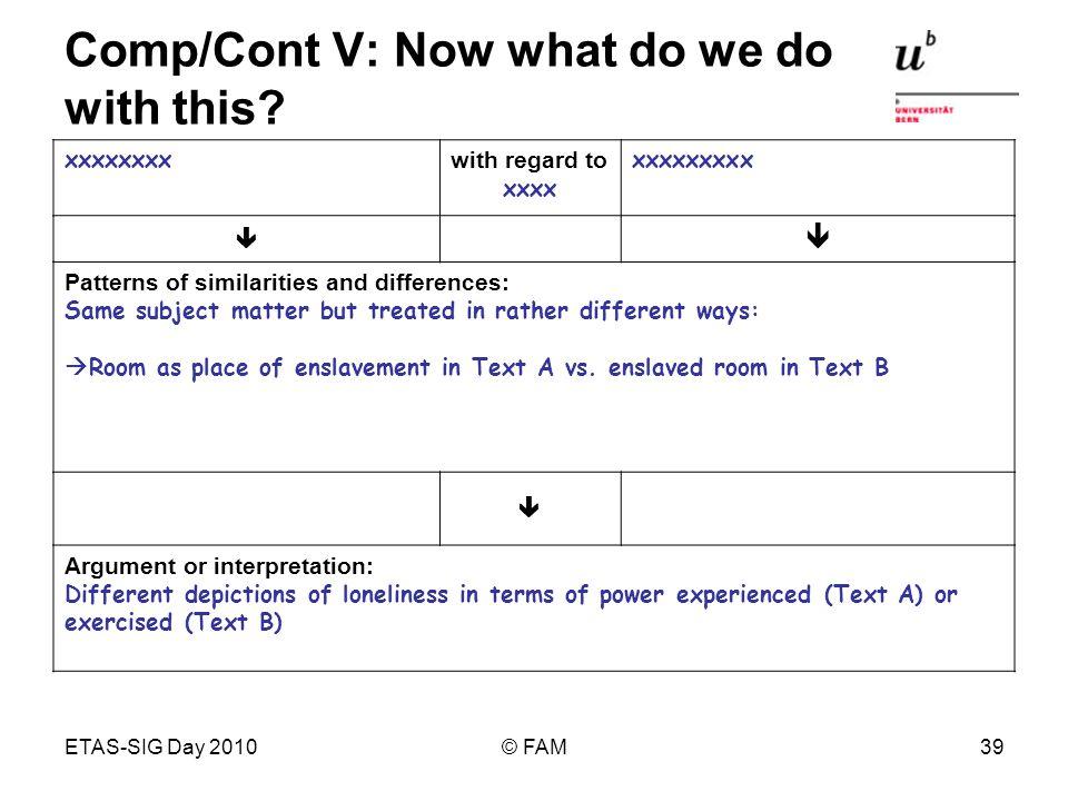 ETAS-SIG Day 2010© FAM39 Comp/Cont V: Now what do we do with this? xxxxxxxx with regard to xxxx xxxxxxxxx Patterns of similarities and differences: Sa