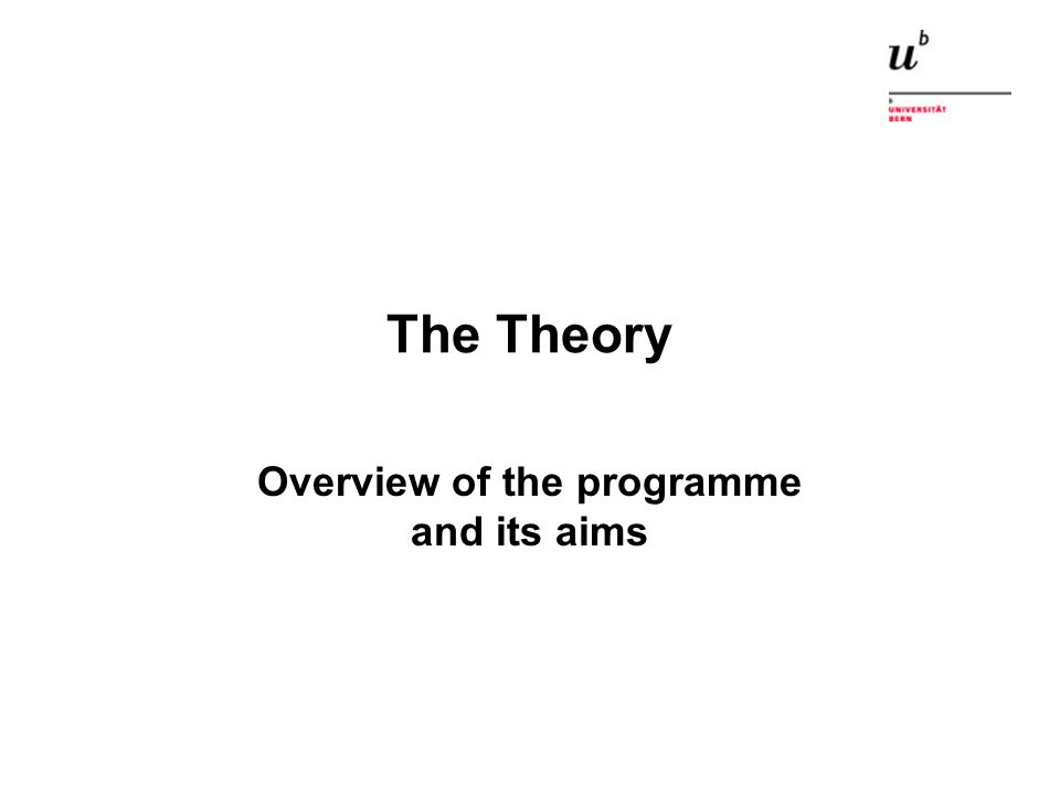 The Theory Overview of the programme and its aims