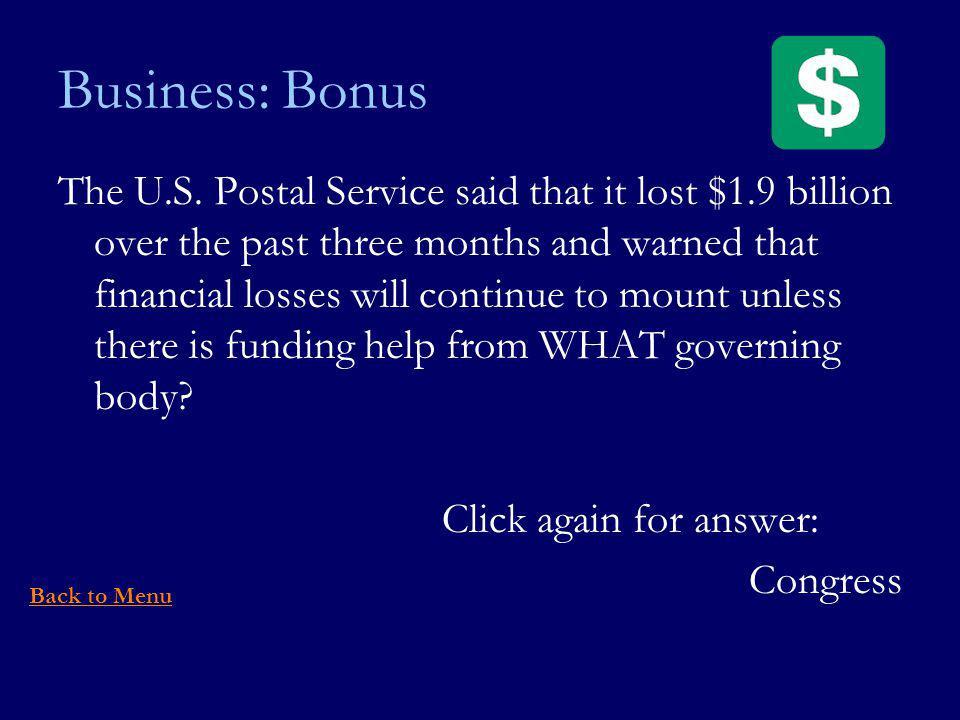 Business: Bonus The U.S.