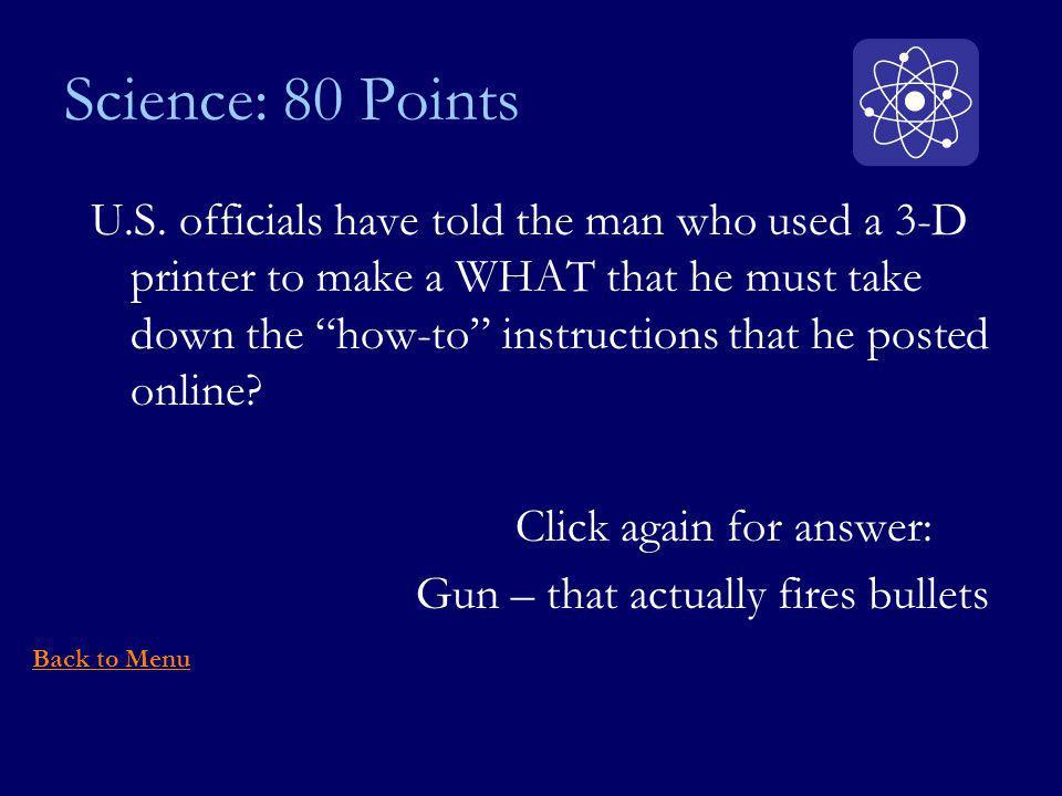 Science: 80 Points U.S.