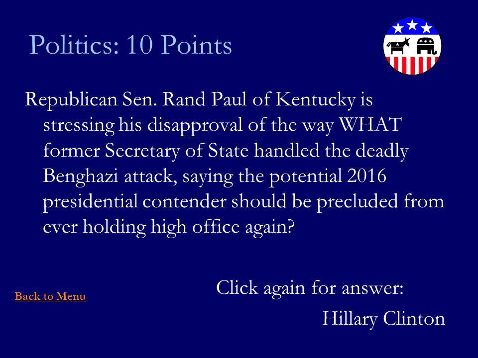Politics: 10 Points Republican Sen.