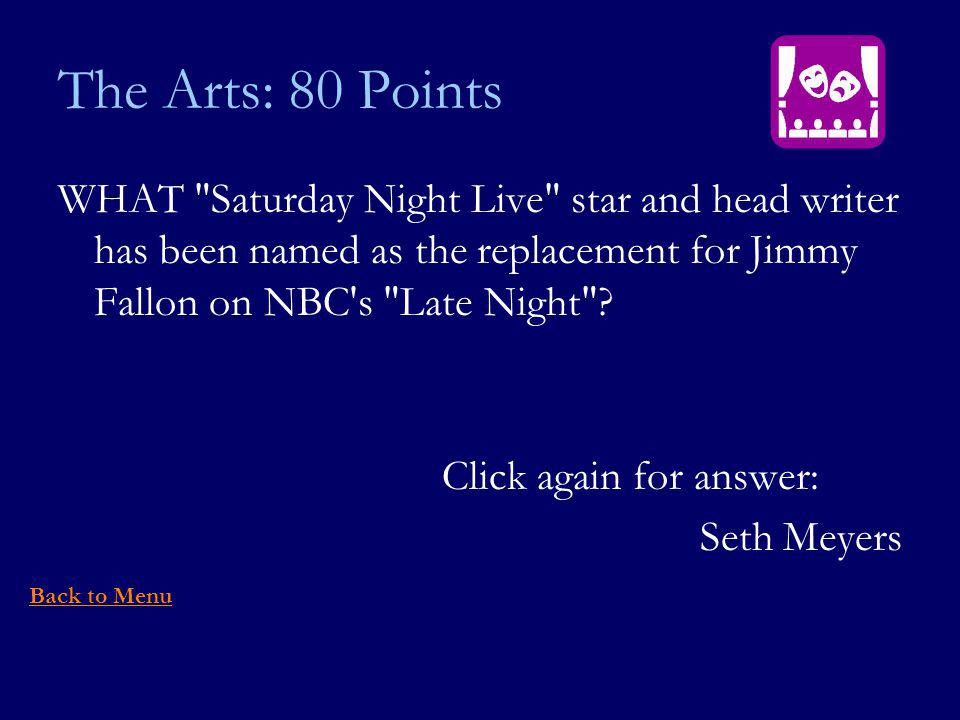 The Arts: 80 Points WHAT Saturday Night Live star and head writer has been named as the replacement for Jimmy Fallon on NBC s Late Night .