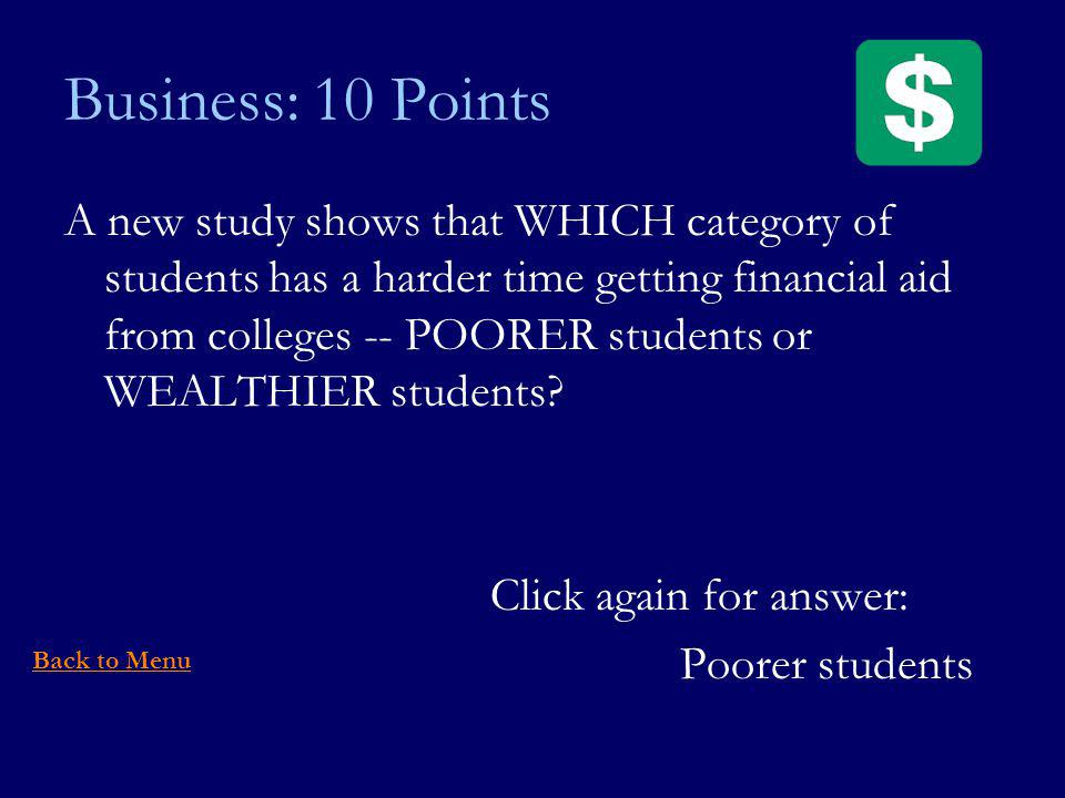 Business: 10 Points A new study shows that WHICH category of students has a harder time getting financial aid from colleges -- POORER students or WEALTHIER students.