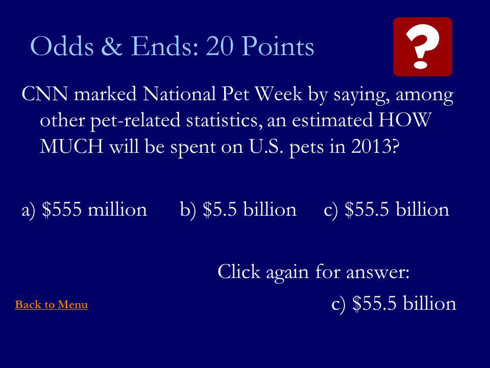 Odds & Ends: 20 Points CNN marked National Pet Week by saying, among other pet-related statistics, an estimated HOW MUCH will be spent on U.S.