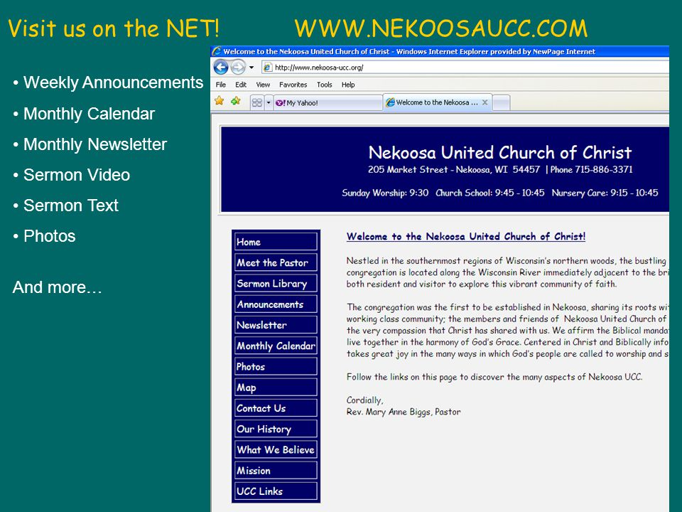 Nekoosa UCC - 6/3/2012 Visit us on the NET.