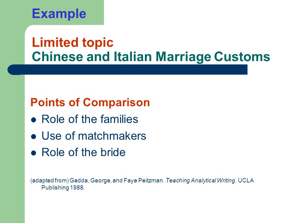 Example Limited topic Chinese and Italian Marriage Customs Points of Comparison Role of the families Use of matchmakers Role of the bride (adapted from) Gadda, George, and Faye Peitzman.