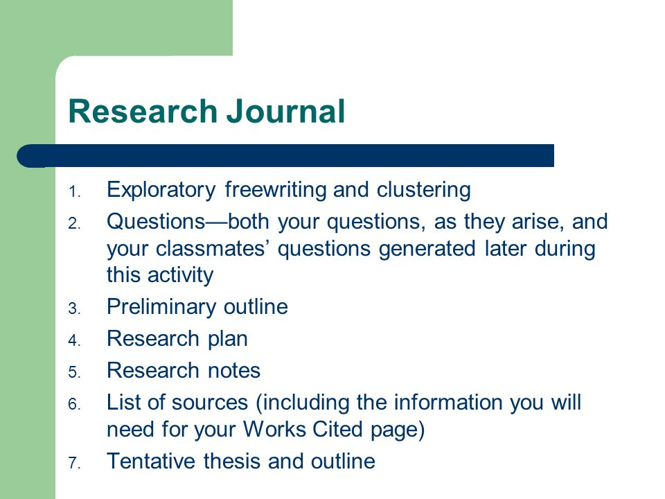 Research Journal 1. Exploratory freewriting and clustering 2.