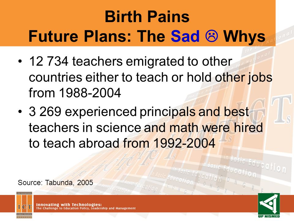Birth Pains Future Plans: The Sad Whys 12 734 teachers emigrated to other countries either to teach or hold other jobs from 1988-2004 3 269 experienced principals and best teachers in science and math were hired to teach abroad from 1992-2004 Source: Tabunda, 2005