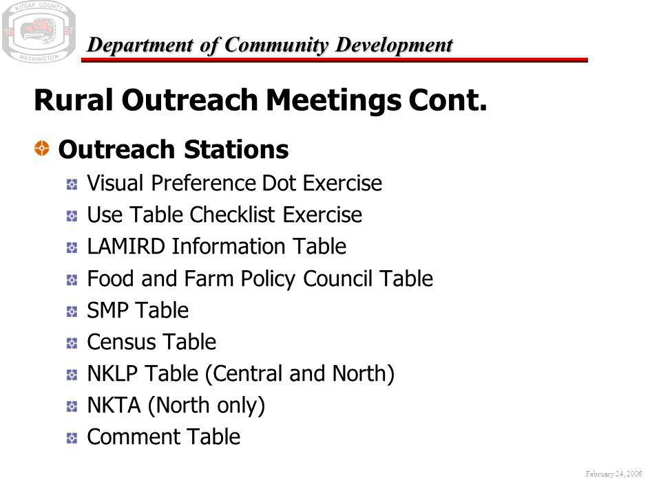 February 24, 2006 Department of Community Development Rural Outreach Meetings Cont. Outreach Stations Visual Preference Dot Exercise Use Table Checkli