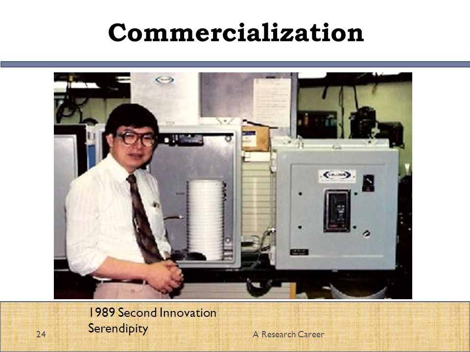 Commercialization 24A Research Career 1989 Second Innovation Serendipity