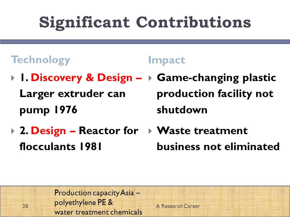 Significant Contributions Technology Impact A Research Career38 1.