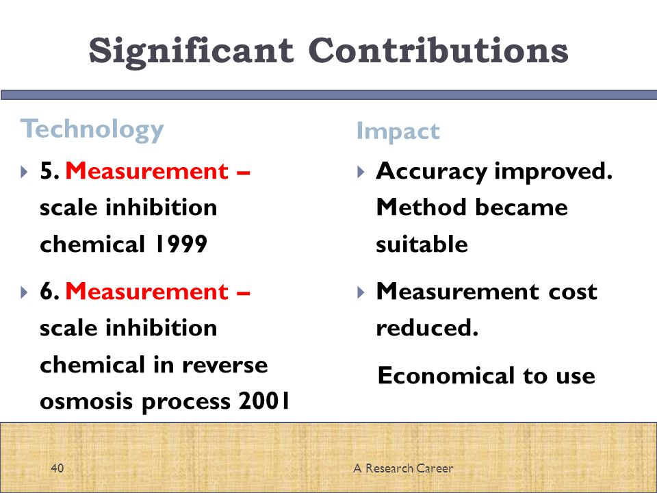 Significant Contributions Technology Impact A Research Career40 5.