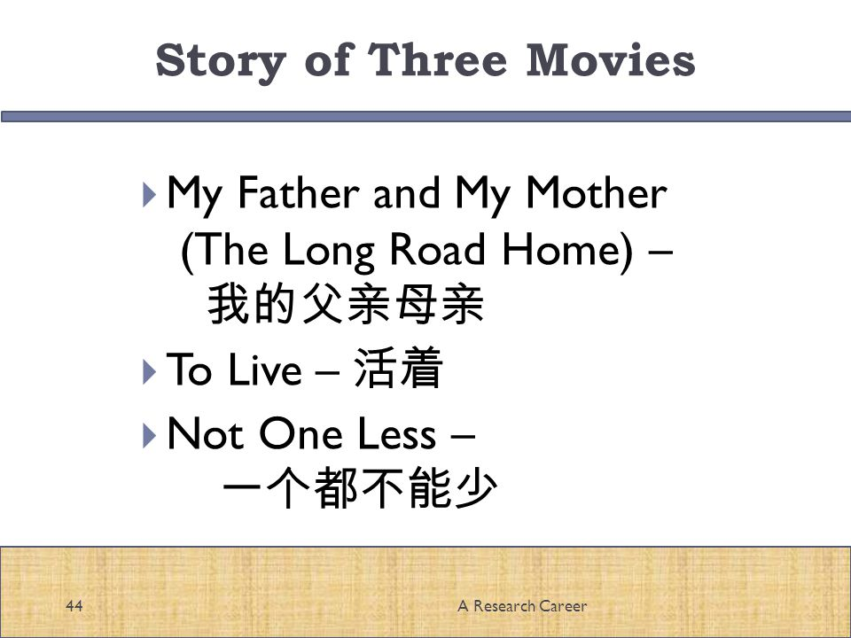 Story of Three Movies My Father and My Mother (The Long Road Home) – To Live – Not One Less – 44A Research Career