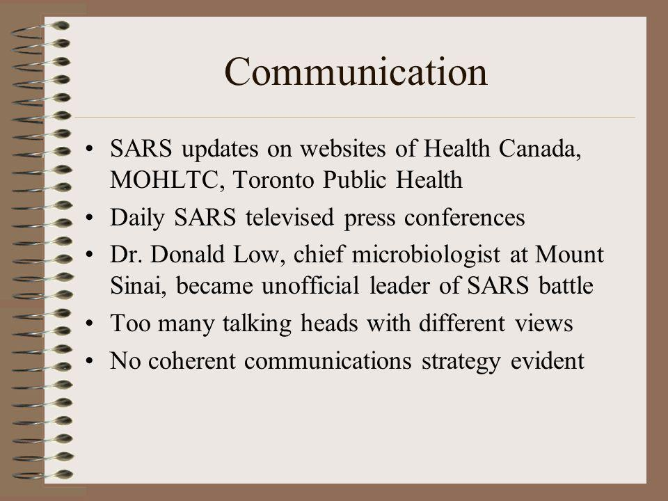 Communication SARS updates on websites of Health Canada, MOHLTC, Toronto Public Health Daily SARS televised press conferences Dr. Donald Low, chief mi