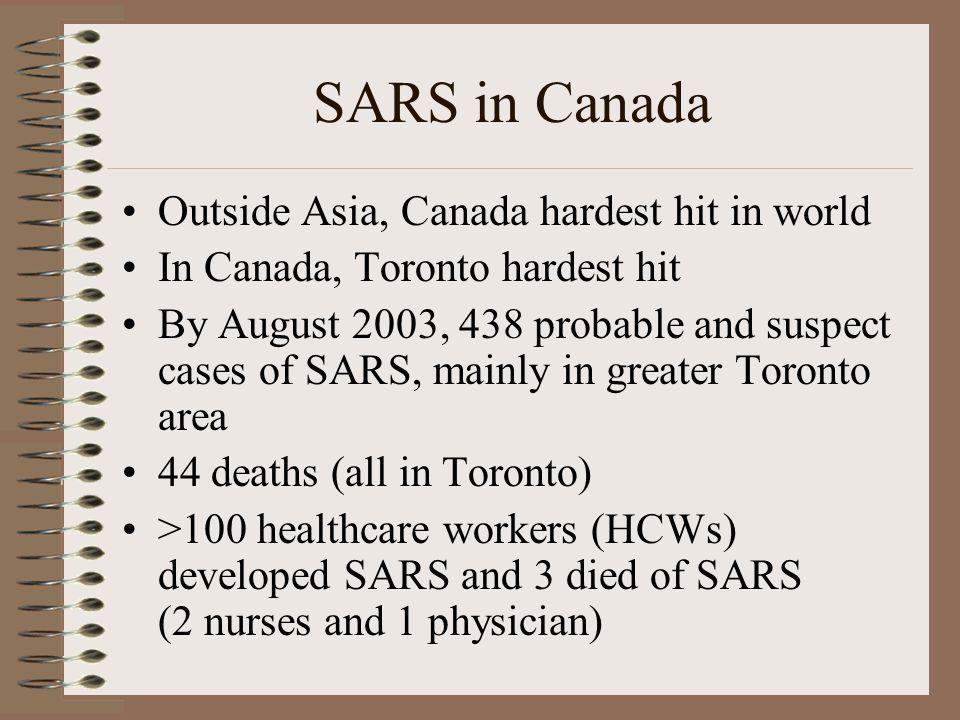 SARS in Canada Outside Asia, Canada hardest hit in world In Canada, Toronto hardest hit By August 2003, 438 probable and suspect cases of SARS, mainly