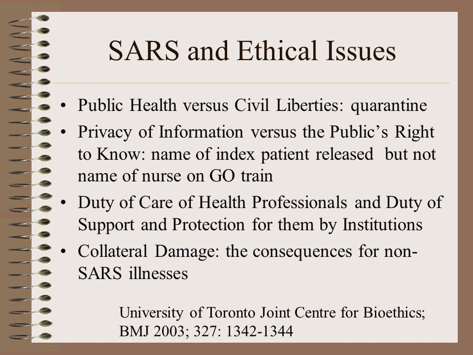 SARS and Ethical Issues Public Health versus Civil Liberties: quarantine Privacy of Information versus the Publics Right to Know: name of index patien