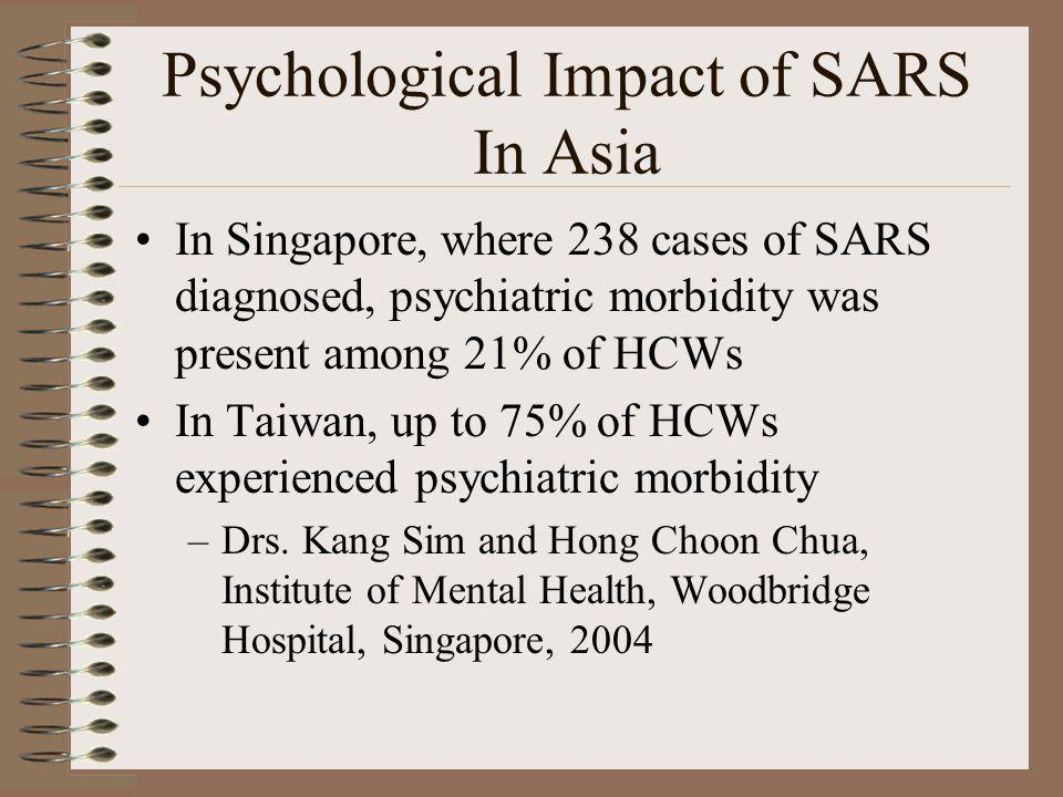 Psychological Impact of SARS In Asia In Singapore, where 238 cases of SARS diagnosed, psychiatric morbidity was present among 21% of HCWs In Taiwan, u