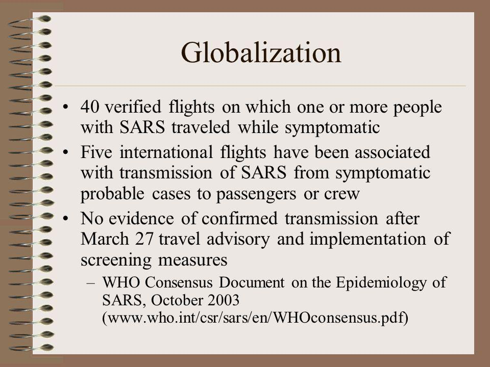 Globalization 40 verified flights on which one or more people with SARS traveled while symptomatic Five international flights have been associated wit