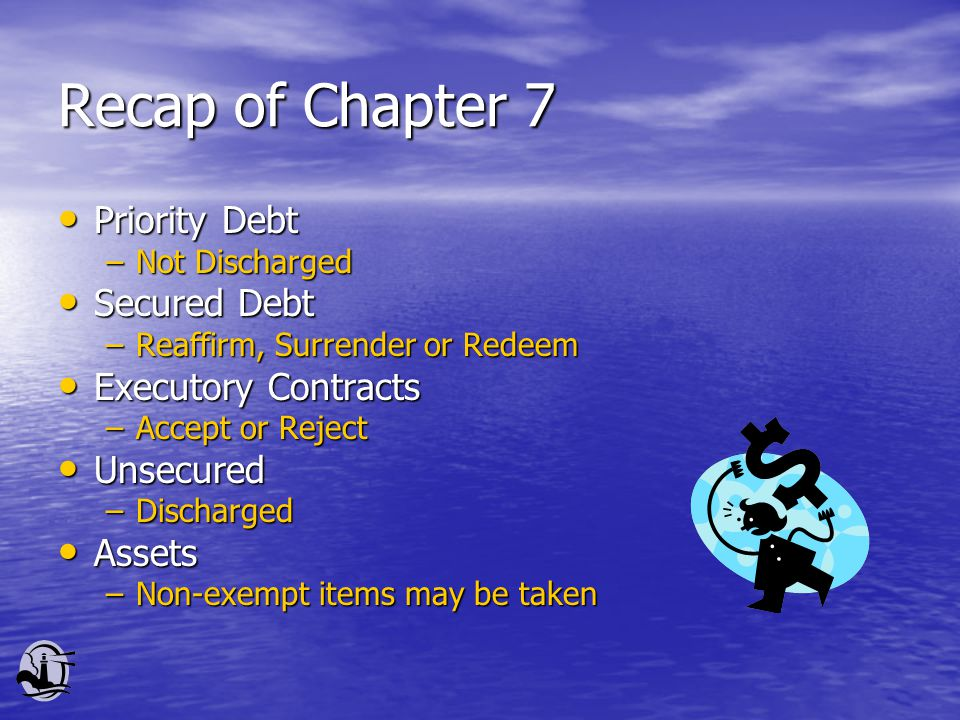 Recap of Chapter 7 Priority Debt Priority Debt –Not Discharged Secured Debt Secured Debt –Reaffirm, Surrender or Redeem Executory Contracts Executory Contracts –Accept or Reject Unsecured Unsecured –Discharged Assets Assets –Non-exempt items may be taken