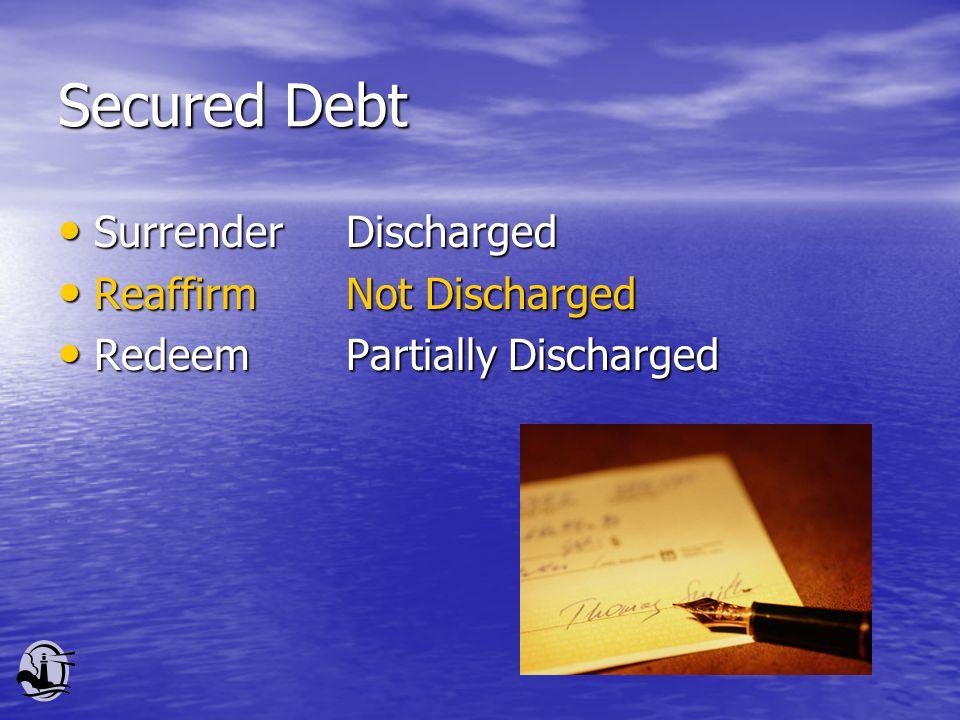 Secured Debt Surrender Discharged Surrender Discharged Reaffirm Not Discharged Reaffirm Not Discharged Redeem Partially Discharged Redeem Partially Discharged