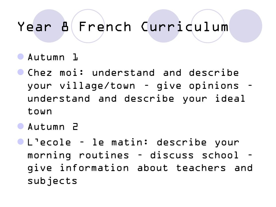 Year 8 French Spring 1 En Ville: talk about buildings in town/village – find your way round – French money - ask the price of things Spring 2: Quand, alors.