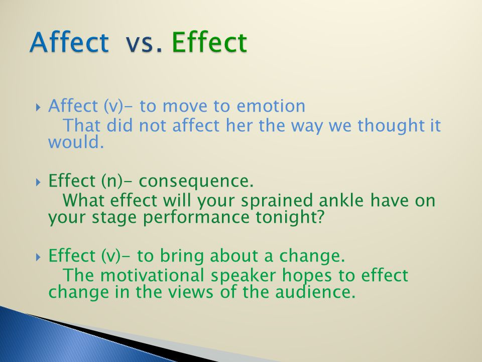Affect (v)- to move to emotion That did not affect her the way we thought it would.