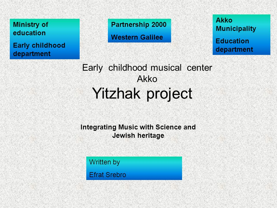 Akko Municipality Education department Ministry of education Early childhood department Yitzhak project Integrating Music with Science and Jewish heri